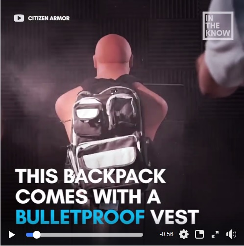 Backpack comes with a bulletproofvest